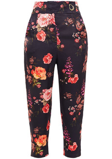 Mother Of Pearl Woman Carmen Cropped Floral-print Hammered-satin Tapered Pants Dark Purple