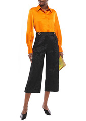 Mother Of Pearl Woman Flynn Cropped Chenille-jacquard Wide-leg Pants Black