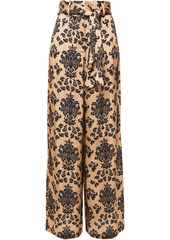 Mother Of Pearl Woman Iona Belted Printed Hammered-satin Wide-leg Pants Pastel Orange
