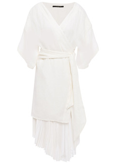 Mother Of Pearl Woman Izzy Layered Jacquard And Pleated Crepe De Chine Mini Wrap Dress Off-white