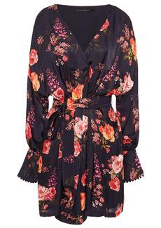 Mother Of Pearl Woman Julia Floral-print Hammered-satin Mini Wrap Dress Dark Purple