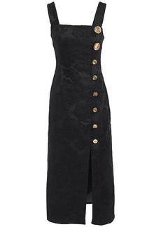 Mother Of Pearl Woman Malia Button-embellished Floral-jacquard Midi Dress Black