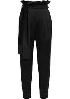 Mother Of Pearl Woman Nancy Cropped Belted Satin Tapered Pants Black