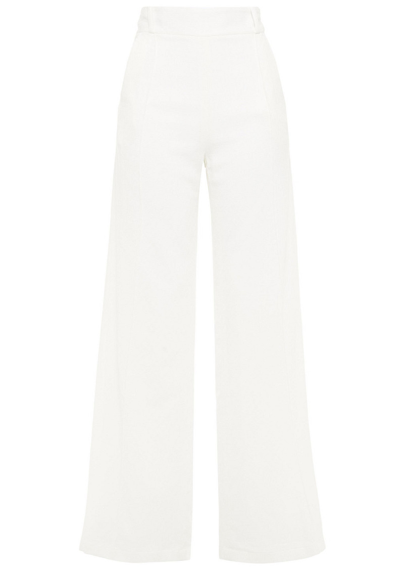 Mother Of Pearl Woman Cora Organic Cotton-gauze Wide-leg Pants Off-white