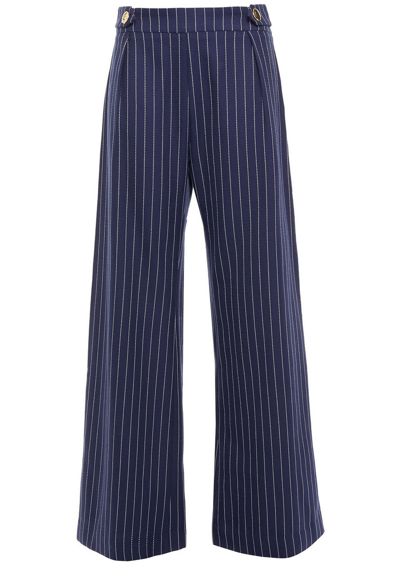Mother Of Pearl Woman Roland Pinstriped Organic Cotton-twill Wide-leg Pants Indigo