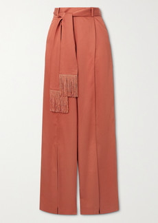 Mother Of Pearl Net Sustain Leo Belted Fringed Lyocell Wide-leg Pants