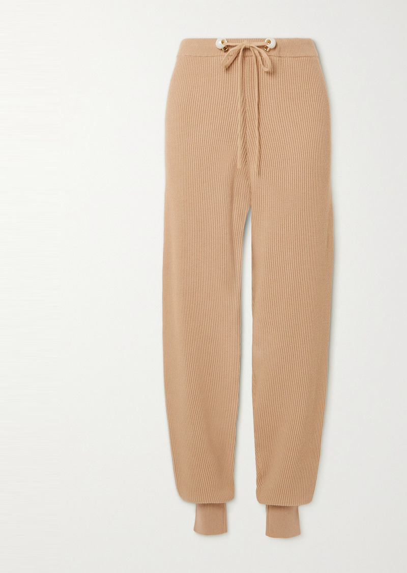 Mother Of Pearl Net Sustain Ribbed Organic Cotton And Wool-blend Track Pants