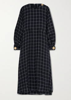 Mother Of Pearl Net Sustain Seren Embellished Checked Twill Midi Dress