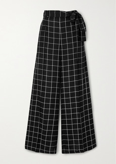 Mother Of Pearl Net Sustain Wendy Belted Checked Twill Wide-leg Pants