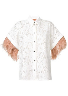 Nº21 appliqué floral lace shirt