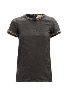 Nº21 No. 21 Crystal-embellished faux-leather T-shirt