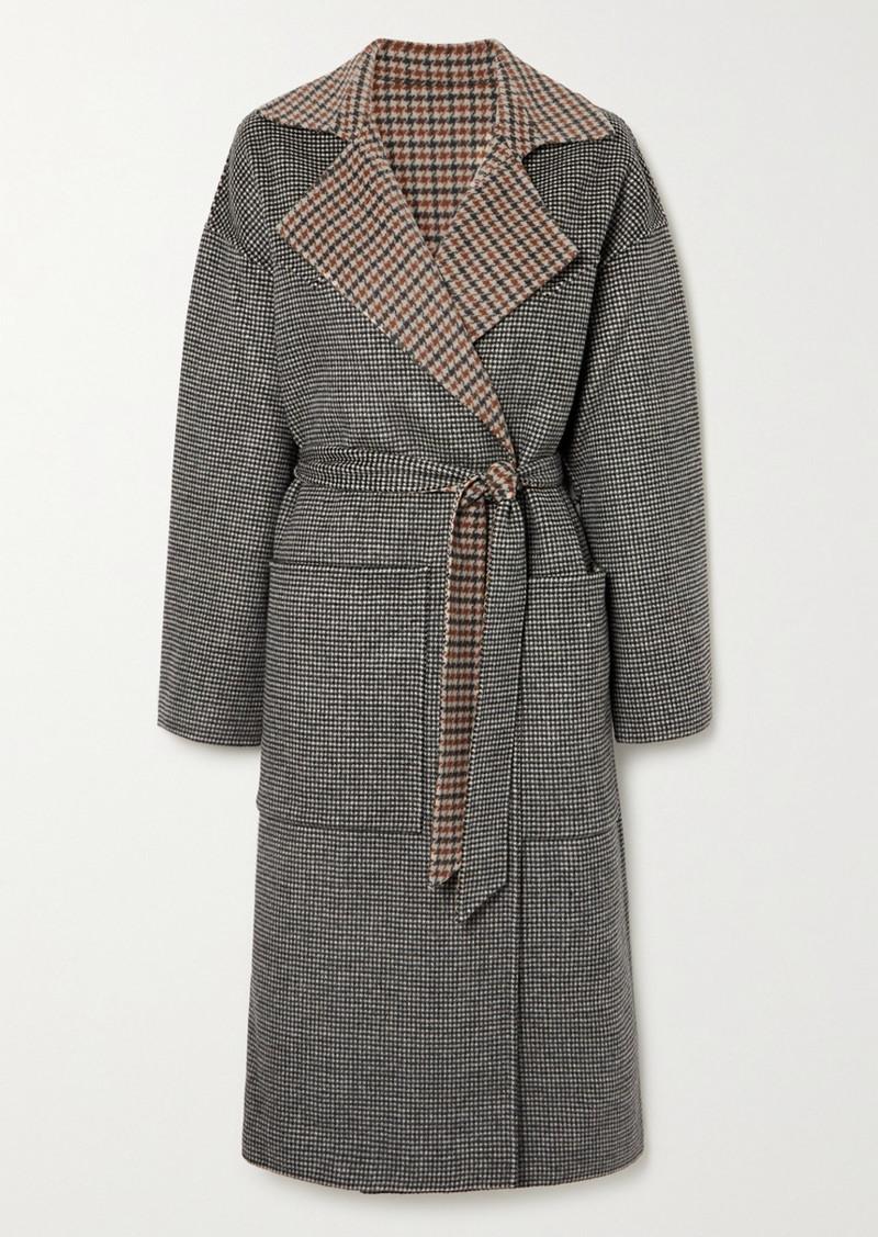 Nanushka Alamo Reversible Belted Houndstooth Wool And Silk-blend Coat