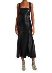Nanushka Allie Vegan Leather Sleeveless Midi Dress