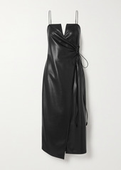 Nanushka Anubi Vegan Leather Midi Wrap Dress