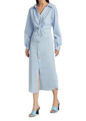 Nanushka Ayse Poplin Twist Midi Shirtdress