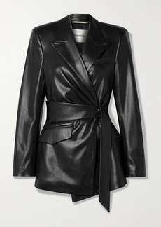 Nanushka Bea Belted Vegan Stretch-leather Blazer