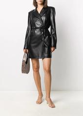 Nanushka belted faux- leather jacket