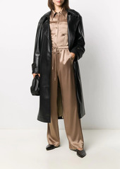 Nanushka belted faux-leather coat