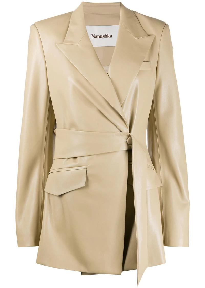 Nanushka belted wrap-style jacket