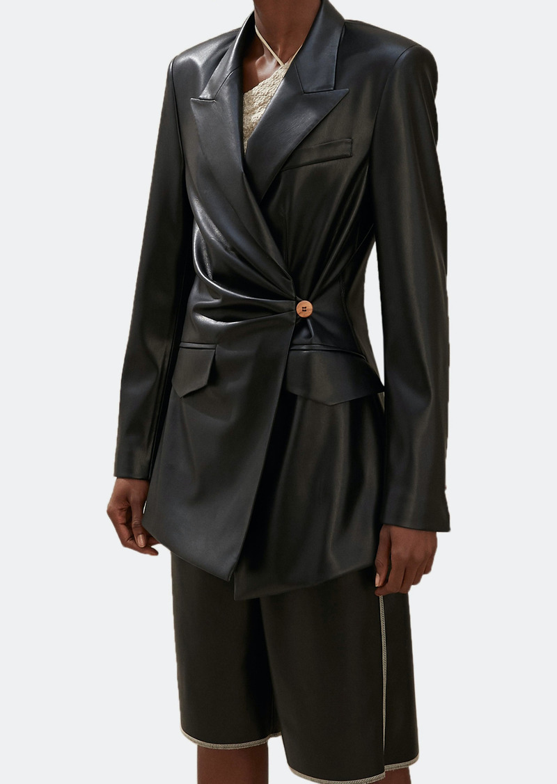 Nanushka Blair Wrap Front Vegan Leather Jacket - L - Also in: XL, M, S