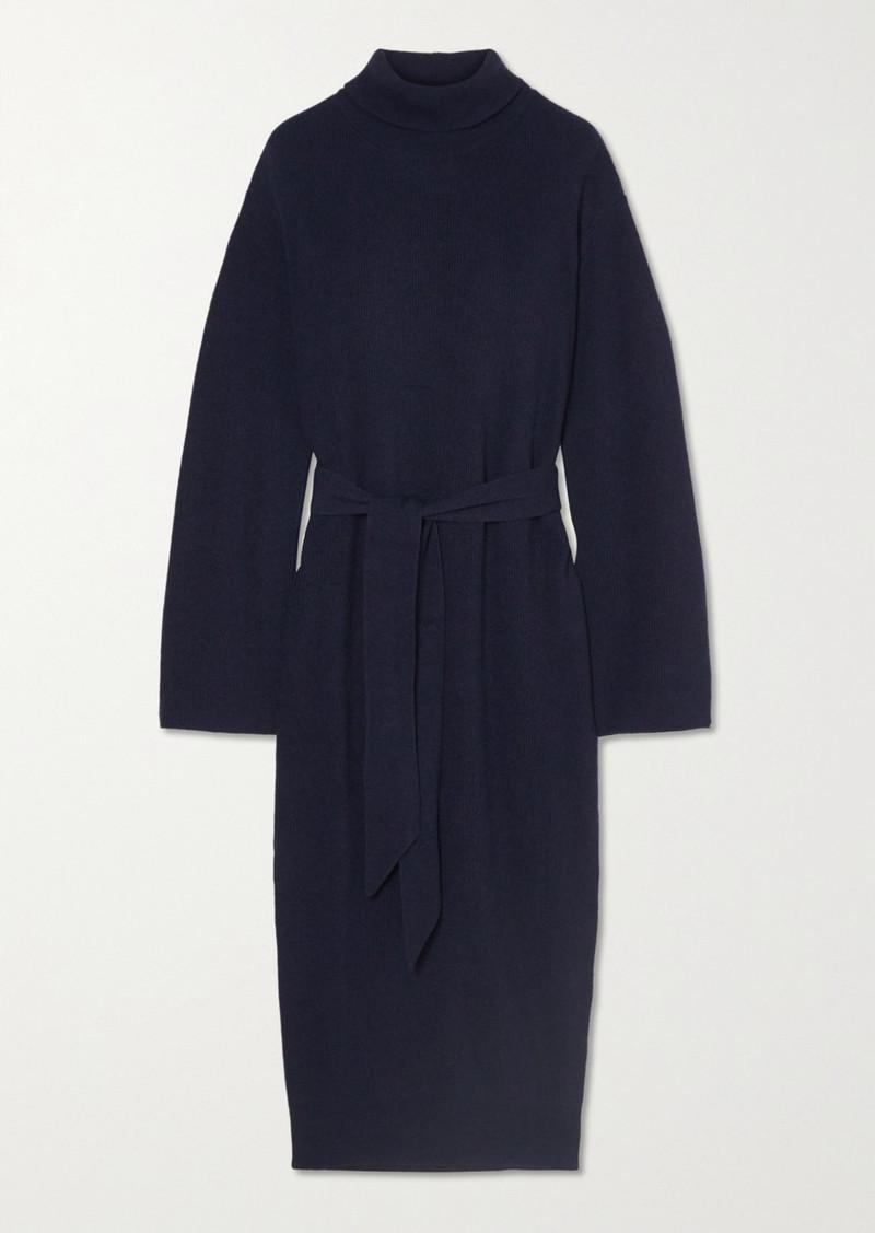 Nanushka Canaan Belted Ribbed-knit Turtleneck Midi Dress