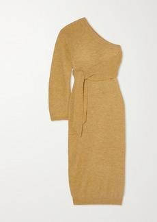 Nanushka Cedro One-sleeve Tie-detailed Stretch-knit Midi Dress