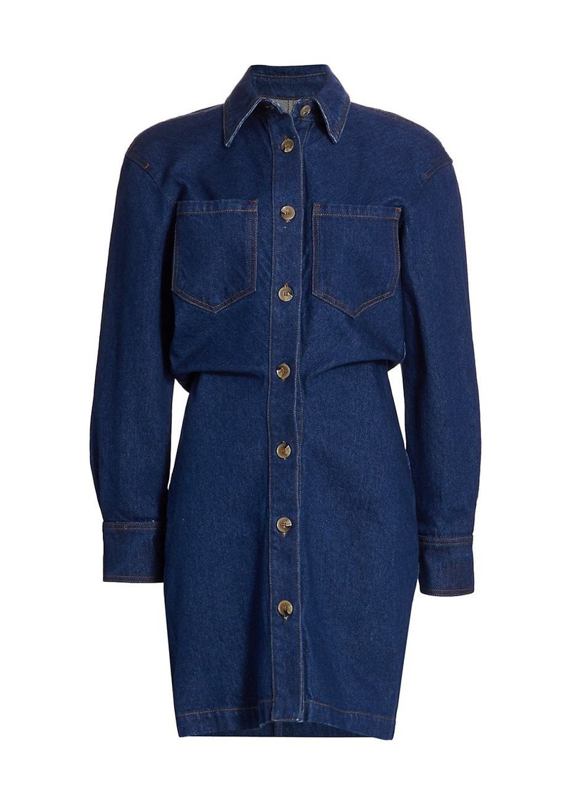 Nanushka Daisy Sheath Denim Shirtdress
