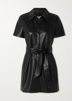 Nanushka Halli Belted Vegan Leather Mini Shirt Dress