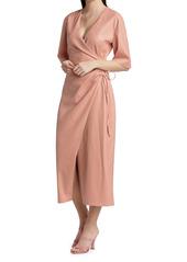 Nanushka Helisa Ruched Faux Leather Midi Dress