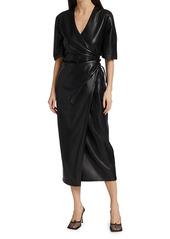 Nanushka Helisa Vegan Leather Ruched Midi Dress
