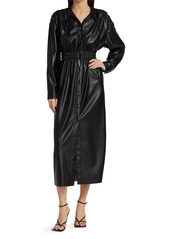 Nanushka Jayce Vegan Leather Ruched Midi Dress