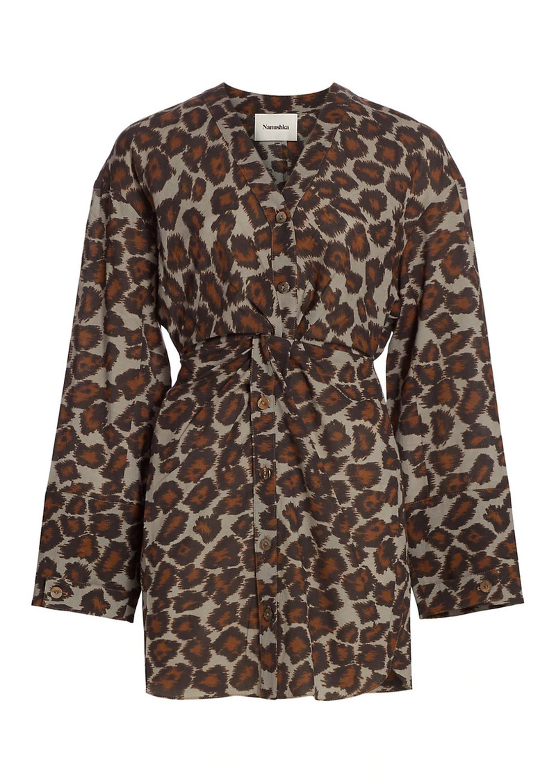 Nanushka Johanna Leopard Print Twist Mini Dress