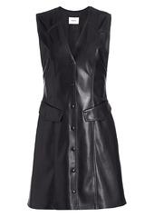 Nanushka Menphi Sleeveless Vegan Leather A-Line Shirtdress