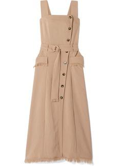 Nanushka Moun Belted Frayed Woven Midi Dress