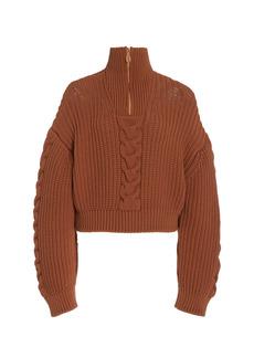 Nanushka - Women's Eria Cable-Knit Cotton-Blend Cropped Sweater - Brown/white - Moda Operandi