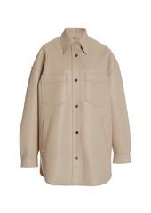 Nanushka - Women's Martin Oversized Vegan Leather Jacket  - Neutral - Moda Operandi