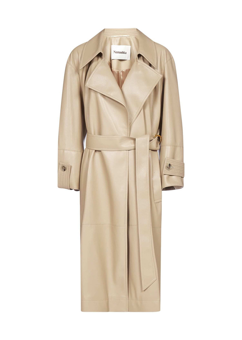 Nanushka Amal Vegan Leather Trench Coat