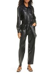 Nanushka Ashton Faux Leather Long Sleeve Jumpsuit