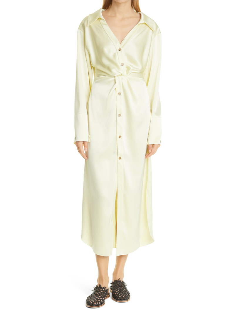Nanushka Ayse Long Sleeve Satin Shirtdress