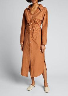 Nanushka Ayse Poplin Button-Front Midi Dress