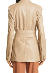 Nanushka Bea Faux Leather Wrap Coat