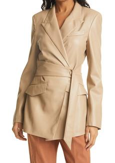 Nanushka Bea Faux Leather Wrap Coat