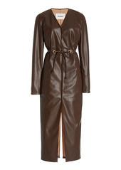 Nanushka Edel Vegan Leather Belted Midi Dress