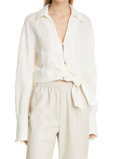 Nanushka Enola Oversize Tie Hem Linen Blend Shirt
