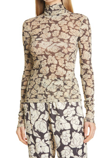 Nanushka Floral Turtleneck Long Sleeve Top
