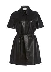 Nanushka Halli Belted Vegan Leather Mini Dress