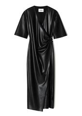 Nanushka Helisa Vegan Leather Midi Wrap Dress