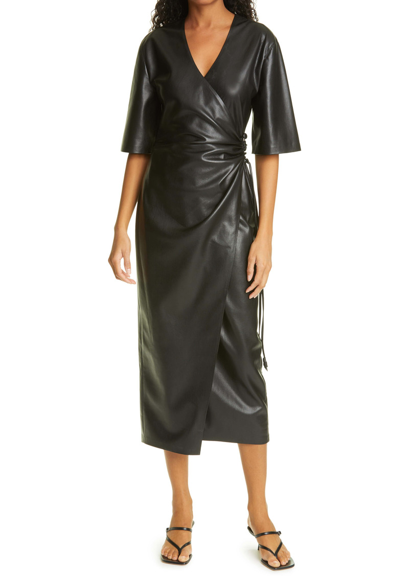 Nanushka Helisa Vegan Leather Wrap Dress