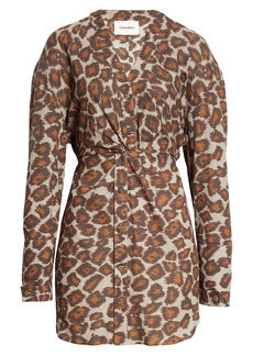 Nanushka Johanna Ocelot Print Twist Waist Long Sleeve Shirtdress