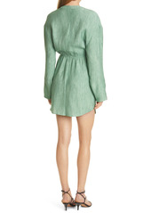 Nanushka Johanna Twisted Waist Long Sleeve Shirtdress